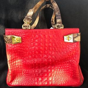 Fontanelli Handbag, red leather with snake skin